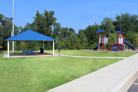Playground and Shelter with Picnic Tables