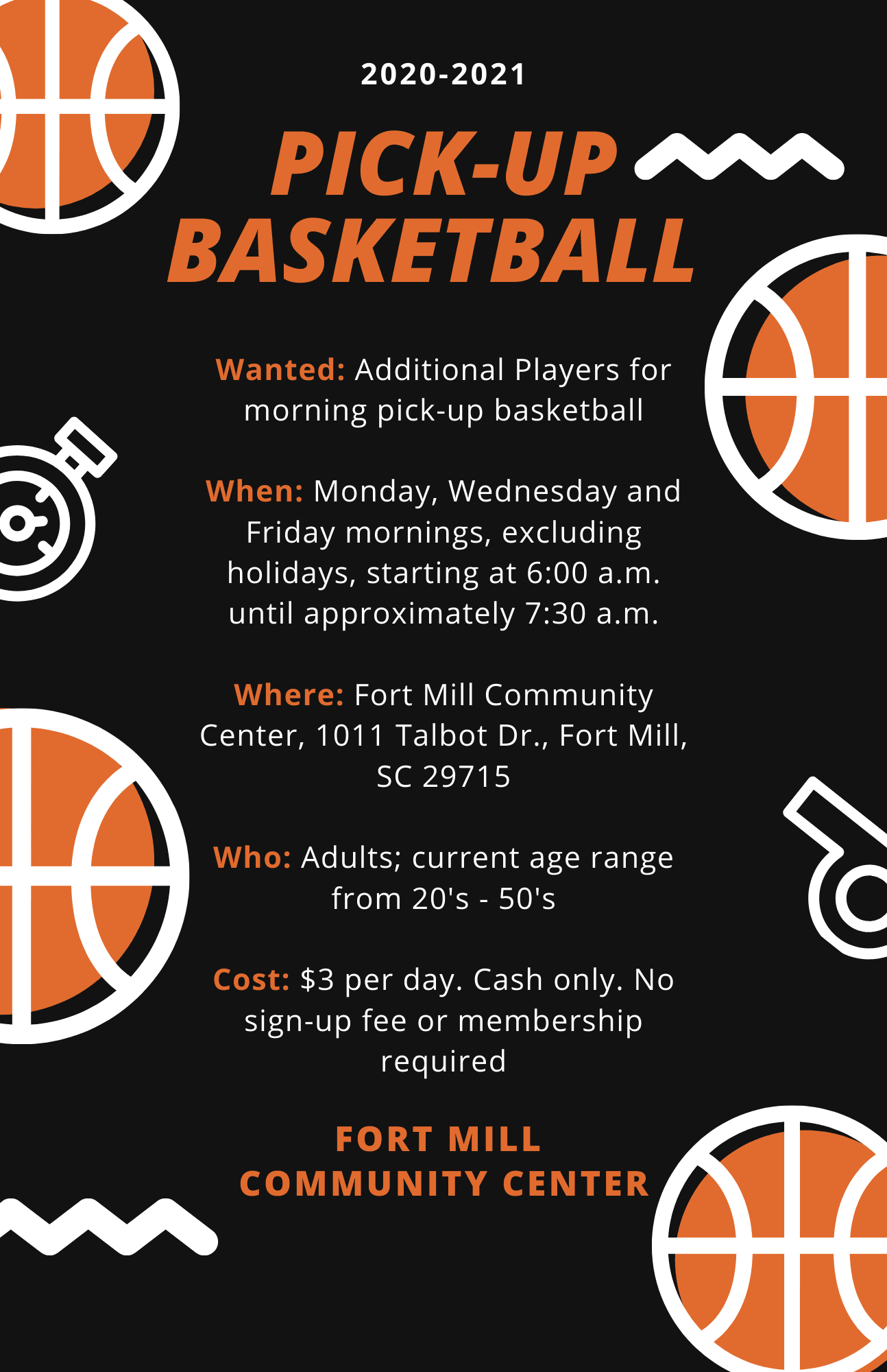 Pick-up Basketball Flyer 12.18.2020